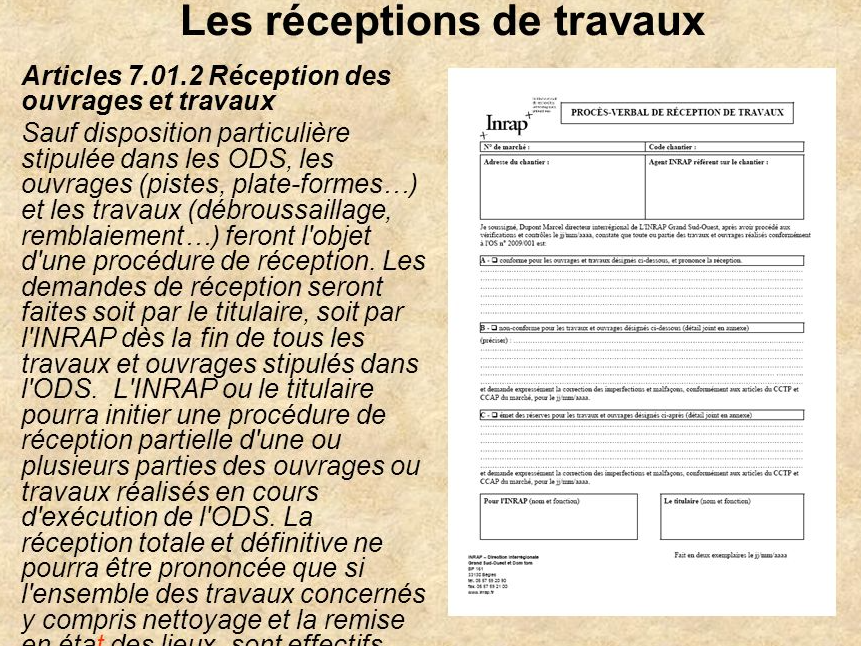 O p c - Proces verbal de reception de travaux ...